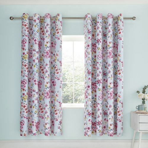 Catherine Lansfield Flower Patchwork Duck Egg Eyelet Curtains